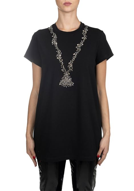 BLACK COTTON T-SHIRT WITH FRONTAL JEWEL APPLICATION L'EDITION | T-shirt | LE0354/R11999