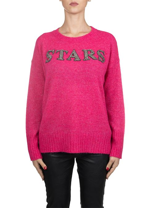 FUCSIA WOOL SWEATER WITH FRONT APPLICATION L'EDITION | Sweaters | LE0416/R4319