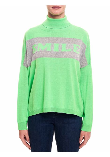 GREEN FLUO WOOL SWEATER WITH FRONT PRINT L'EDITION | Sweaters | LE0422GREEN