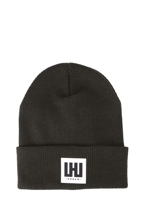 GREEN MIXED WOOL HAT WITH FRONT LOGO APPLICATION LES HOMMES | Hats | UHA671952U3100