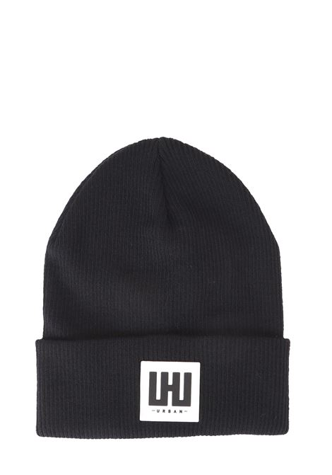 BLACK MIXED WOOL HAT WITH FRONT LOGO APPLICATION LES HOMMES | Hats | UHA671952U9000