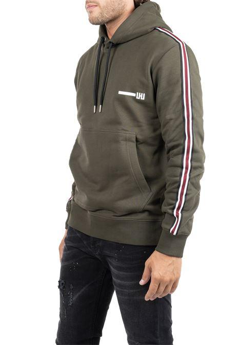GREEN COTTON SWEATSHIRT WITH FRONT LOGO PRINT LES HOMMES | Sweatshirts | UHH301750U3100