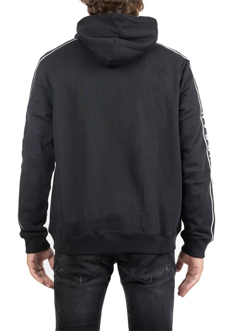 BLACK COTTON SWEATSHIRT WITH PRINTED LOGO ON SLEEVES LES HOMMES | Sweatshirts | UHH504750U9033