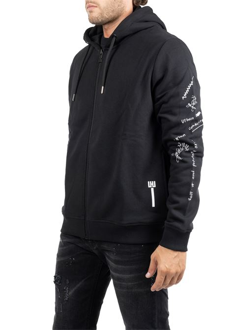 BLACK COTTON SWEATSHIRT WITH FRONTAL PRINTS LES HOMMES | Sweatshirts | UHH601750P9000