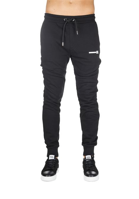BLACK SUIT COTTON PANTS WITH FRONT LOGO APPLICATION LES HOMMES | Track Pants | UHJ100750U9000