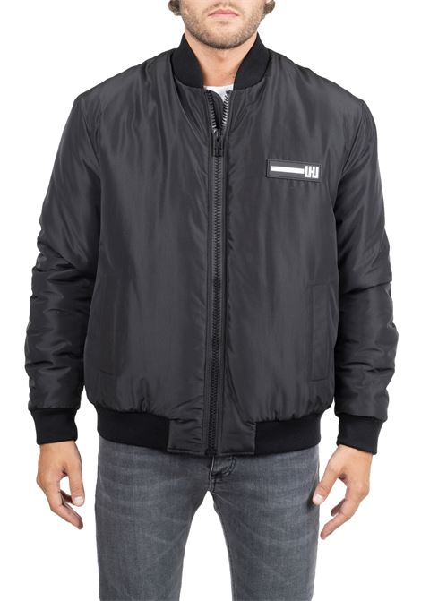 BLACK JACKET WITH FRONT LOGO APPLICATION LES HOMMES | Jackets | UHO100250P9051