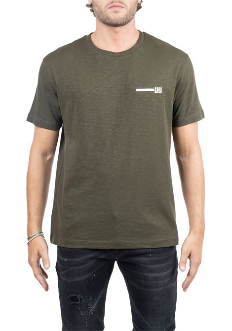 GREEN COTTON T-SHIRT WITH FRONT LOGO APPLICATION LES HOMMES | T-shirt | UHT207702P3100