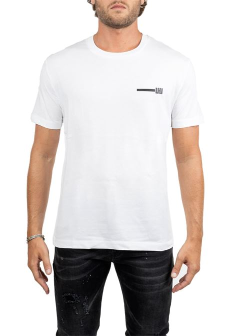 WHITE T-SHIRT WITH FRONTAL APPLICATION LES HOMMES | T-shirt | UHT214700P1009