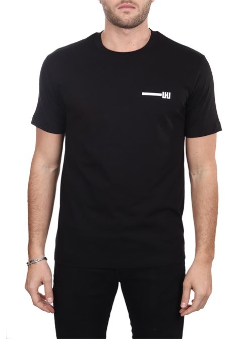 BLACK T-SHIRT WITH FRONTAL APPLICATION LES HOMMES | T-shirt | UHT214700P9001