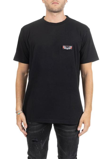 BLACK T-SHIRT WITH RIPPING FRONT LOGO MARCELO BURLON | T-shirt | CMAA018DE190010991088