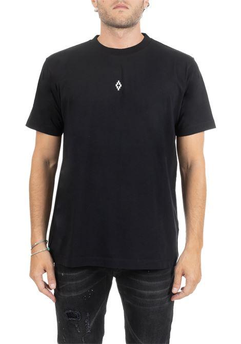 T-SHIRT NERA CON LOGO STAMPATO SUL DAVANTI E ALI AL CUORE IN TURCHESE SUL RETRO MARCELO BURLON | T-shirt | CMAA018E190010061001