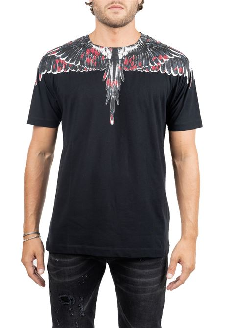 BLACK COTTON T-SHIRT WITH WINGS FRONT BACK PRINT MARCELO BURLON | T-shirt | CMAA018E190010081088