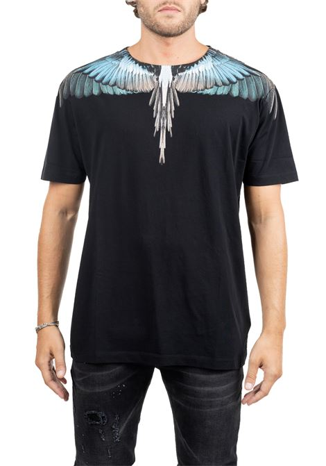 BLACK  COTTON T-SHIRT WITH WINGS PRINT MARCELO BURLON | T-shirt | CMAA018E190010091088