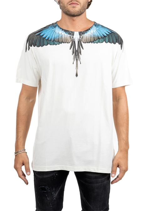 WHITE COTTON T-SHIRT WITH WINGS PRINT MARCELO BURLON | T-shirt | CMAA018E190010094888