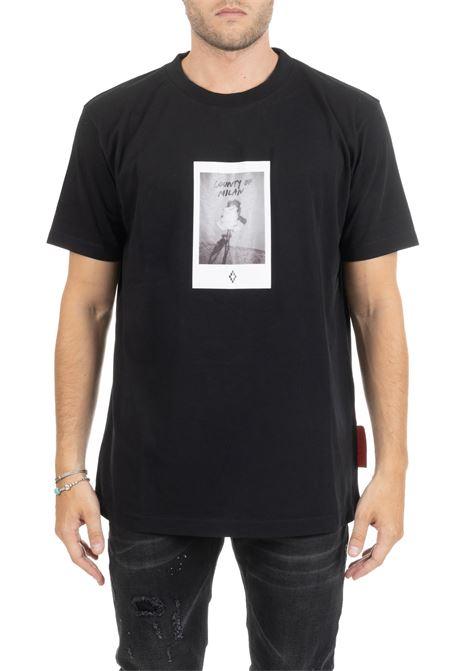 BLACK T-SHIRT WITH FRONT LOGO MARCELO BURLON | T-shirt | CMAA018E190010271088