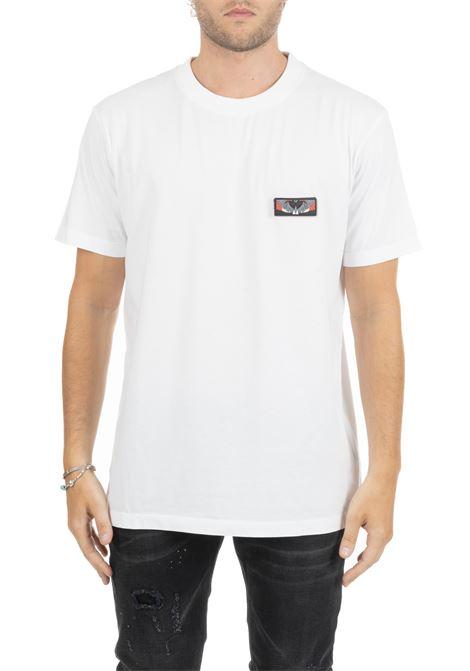 WHITE T-SHIRT WITH RIPPING FRONT LOGO MARCELO BURLON | T-shirt | CMAA018E190010990188