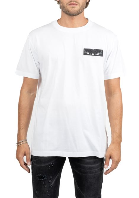 WHITE COTTON T-SHIRT WITH FRONTAL APPLICATION MARCELO BURLON | T-shirt | CMAA018F190010020188