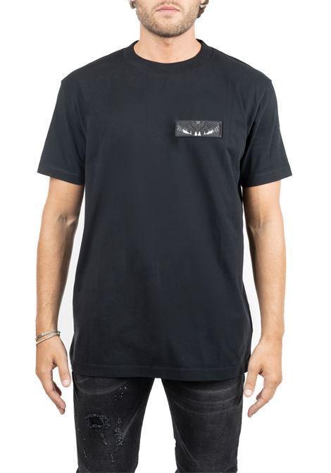 T-SHIRT NERA IN COTONE CON APPLICAZIONE FRONTALE MARCELO BURLON | T-shirt | CMAA018F190010021088