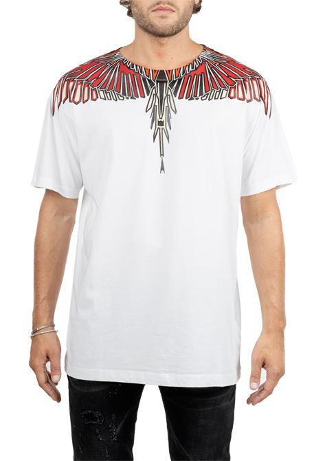 T-SHIRT BIANCA IN COTONE  CON APPLICAZIONE LOGO WINGS MARCELO BURLON | T-shirt | CMAA018F190010050188
