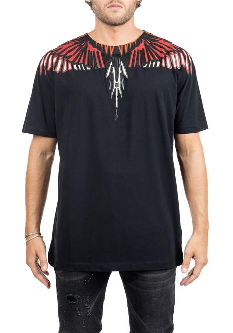 BLACK COTTON T-SHIRT WITH WINGS LOGO APPLICATION MARCELO BURLON | T-shirt | CMAA018F190010051088