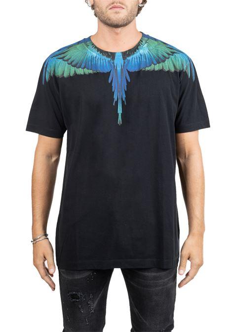 BLACK COTTON T-SHIRT WITH WINGS PRINT MARCELO BURLON | T-shirt | CMAA018F190010061088