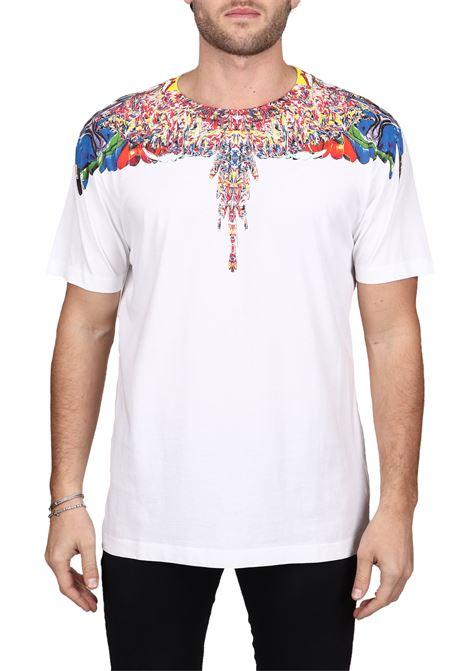 T-SHIRT BIANCA  CON STAMPA FENICE MULTICOLOR IN COTONE MARCELO BURLON | T-shirt | CMAA018F190010220188