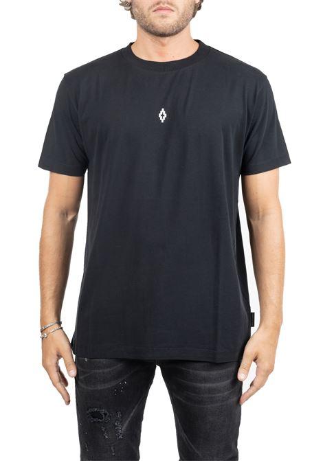 BLACK COTTON T-SHIRT WITH FRONT LOGO MARCELO BURLON | T-shirt | CMAA018F190010811088