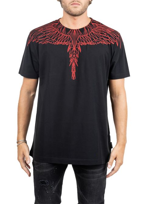 BLACK COTTON T-SHIRT WITH WINGS FRONT BACK PRINT MARCELO BURLON | T-shirt | CMAA018F190010961020