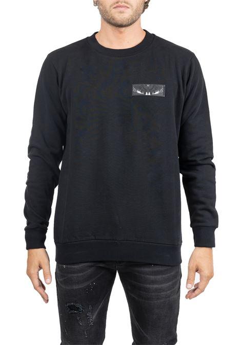 BLACK COTTON SWEATSHIRT WITH FRONTAL APPLICATION MARCELO BURLON | Sweatshirts | CMBA009F195060021088