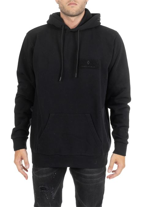 BLACK SWEATSHIRT WITH HOOD WITH TEAR LOGO MARCELO BURLON | Sweatshirts | CMBB007E196300101088
