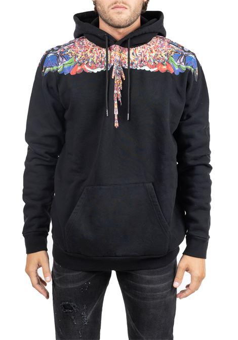 BLACK COTTON SWEATSHIRT WITH WINGS FRONT BACK PRINT MARCELO BURLON | Sweatshirts | CMBB007F195060221088