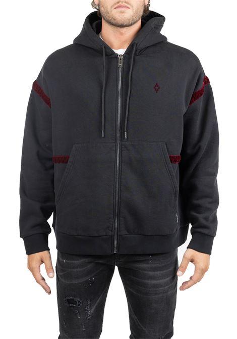 BLACK COTTON SWEATSHIRT WITH FRONT LOGO EMBROIDERY MARCELO BURLON | Sweatshirts | CMBE009F195060231088