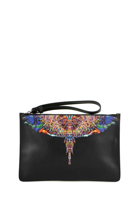 MULTICOLORED WINGS BLACK CLUTCH WITH LOGO MARCELO BURLON | Clutches | CMNA013F198540691088