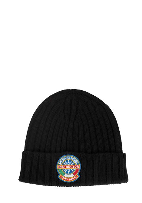 BLACK HAT WITH WOOL MIXED FRONT PATCH APPLICATION MC2SAINTBARTH | Hats | WENGEN00