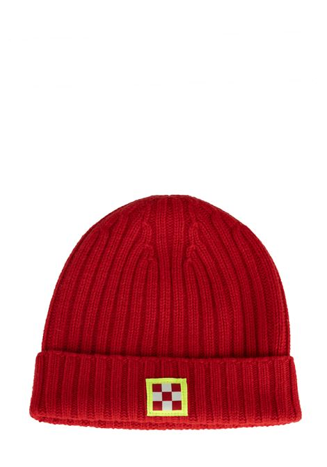 RED WOOLEN HAT WITH FRONT LOGO APPLICATION MC2SAINTBARTH | Hats | WENGENKNITTED41