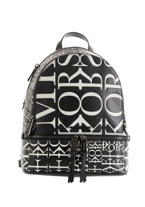 BLACK BACKPACK WITH STUDS AND PRINTED LOGO MICHAEL DI MICHAEL KORS | Backpacks | 30T9UEZB2YRHEAZIP012