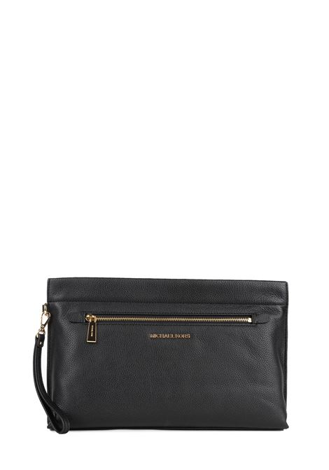 BLACK LEATHER CLUTCH WITH FRONT LOGO MICHAEL DI MICHAEL KORS | Clutches | 32F9GJ6W4LJETSET001