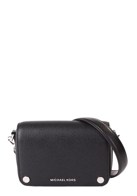BLACK LEATHER BAG WITH FRONT LOGO APPLICATION MICHAEL DI MICHAEL KORS | Bags | 32F9SJ6C1LJETSET001