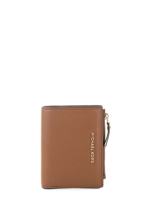LEATHER WALLET WITH FRONT LOGO MICHAEL DI MICHAEL KORS | Wallets | 34F9GJ6F2LJETSET230