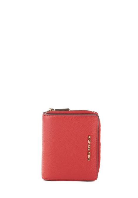 RED LEATHER WALLET WITH FRONT LOGO MICHAEL DI MICHAEL KORS   Wallets   34F9GJ6Z8LJETSET683