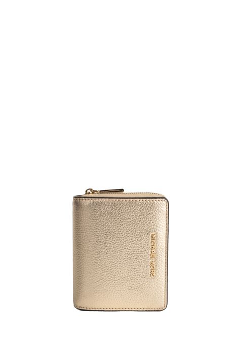 GOLD LEATHER WALLET WITH FRONT LOGO MICHAEL DI MICHAEL KORS | Wallets | 34F9GJ6Z8MJETSET740