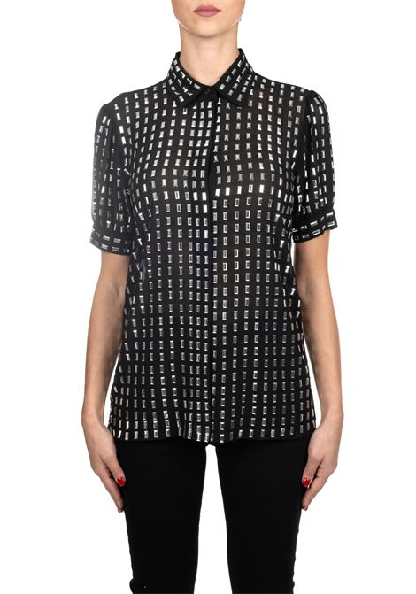 BLACK TOP IN CREPE DECORATED WITH CRYSTALS MICHAEL DI MICHAEL KORS | Blouse | MF94LWR7R3001