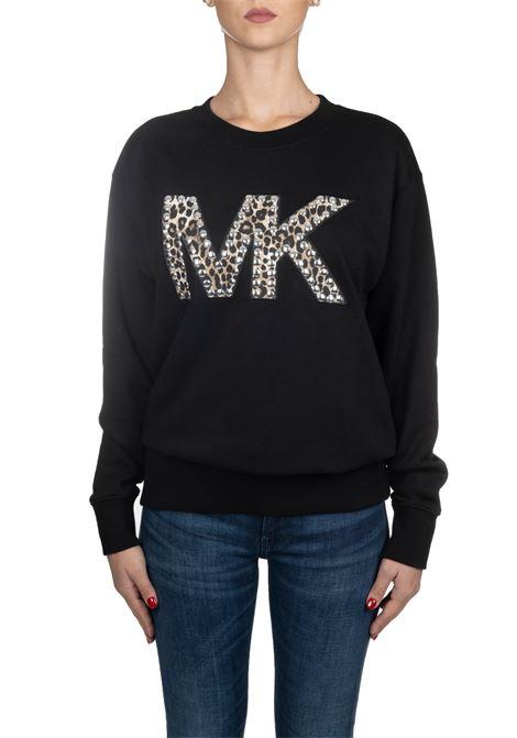BLACK COTTON SWEATSHIRT WITH LOGO APPLICATION MICHAEL DI MICHAEL KORS | Sweatshirts | MF95MC697F001