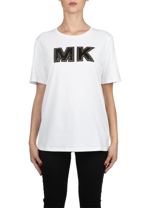 T-SHIRT BIANCA IN COTONE CON APPLICAZIONE LOGO FRONTALE MICHAEL DI MICHAEL KORS | T-shirt | MU95MAJ97J100