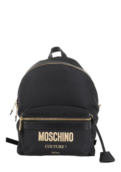 BLACK BACKPACK WITH LOGO MOSCHINO | Backpacks | 761082051555