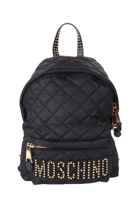 QUILTED BLACK BACKPACK WITH STUDS MOSCHINO | Backpacks | 761182032555