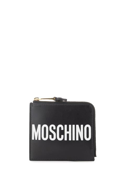 BLACK LEATHER WALLET WITH LOGO MOSCHINO | Wallets | 810480011555