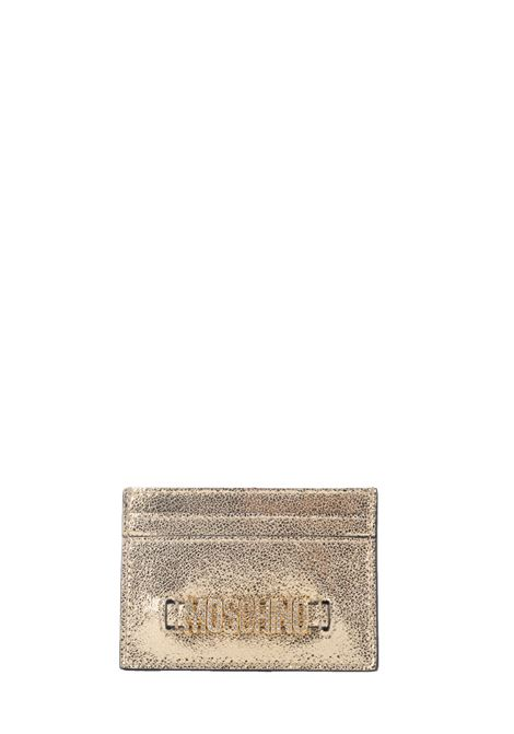 GOLD LAMINATE CARD HOLDER MOSCHINO | Card Holder | 81208012606