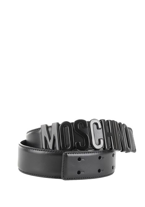 BLACK LETTERING LEATHER BELT MOSCHINO | Belts | 806580017555