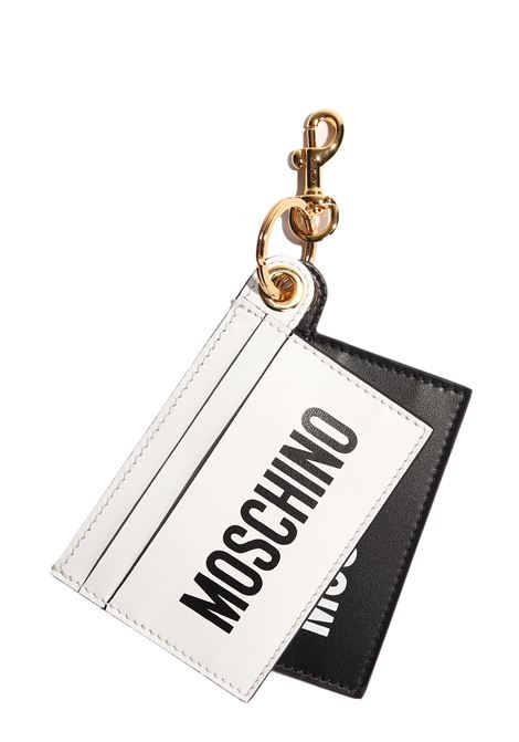 BICOLOR KEY HOLDER CARD HOLDER WITH FRONT LOGO MOSCHINO | Key Rings | A810680011888